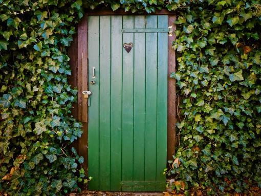 Porte de toilettes inscrusté dans un mur végétale