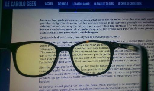 Paire de lunettes anti lumieres bleues