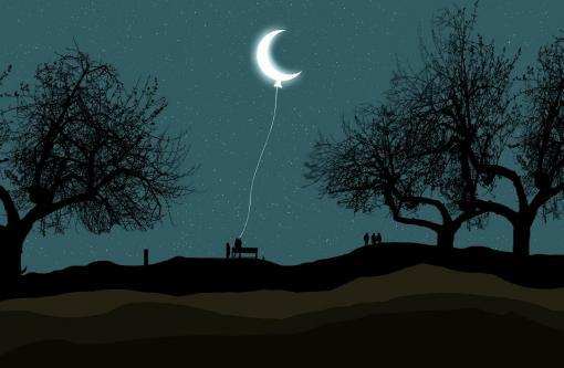 S'endormir avec la lune accrochée à son lit