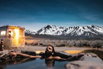 Dormir dans un bain en montagne